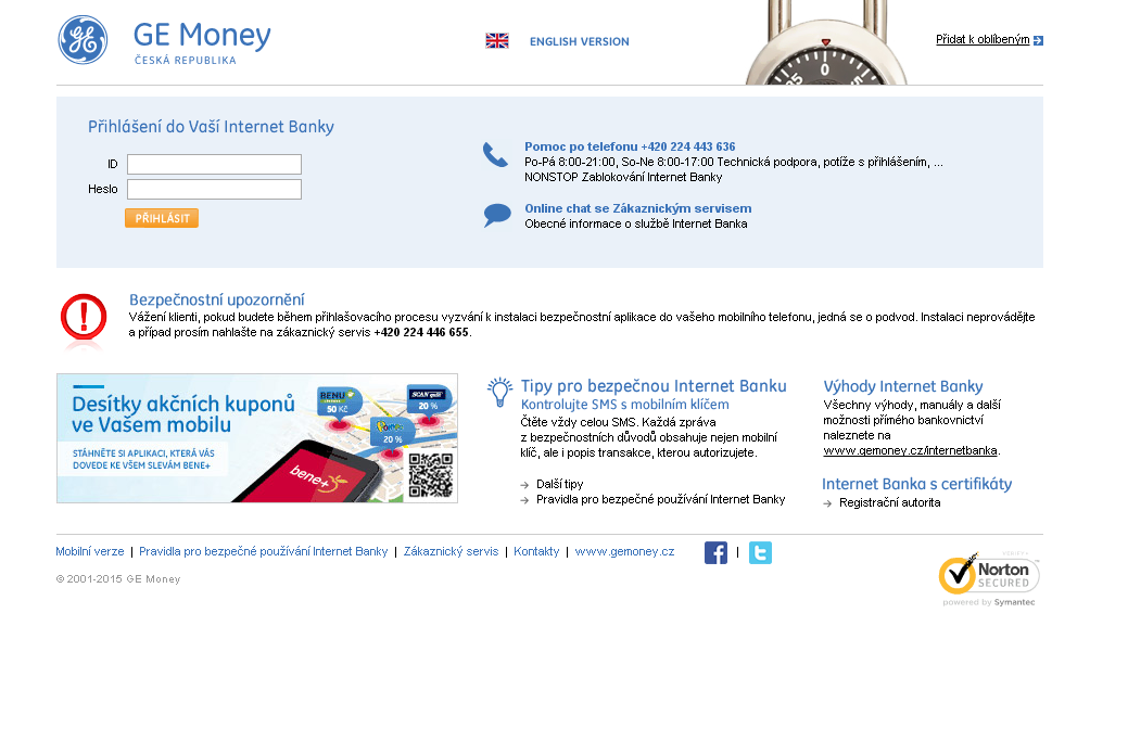 GE Money bank internetbanking