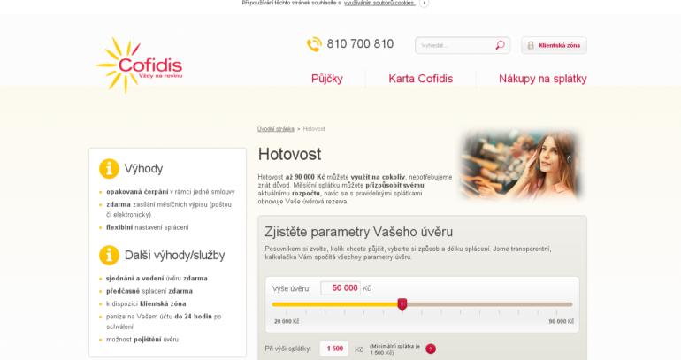 Cofidis nenabízí půjčky bez registru